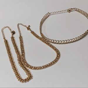 Gold choker necklace bundle of 3